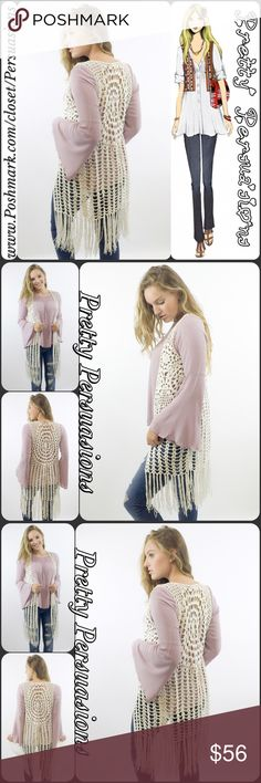 "NWT Boho Crochet Fringe Maxi Cardigan Vest NWT Boho Crochet Fringe Maxi Cardigan Vest  Available in sizes S, M, L Measurements taken from a size small  Length: 39"" Bust: 38"" Waist: 36"" Hips: 40""  Features  • cream crochet open stitch body with floral crochet accents  • fringe bottom hemline  • sleeveless  • open front • soft, breathable material w/stretch • relaxed fit  Bundle discounts available  No pp or trades  crochet fringe vest cardigan Pretty Persuasions Sweaters"