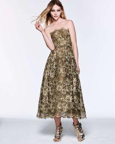 Oscar de la Renta Scalloped Floral Lace Fit-And-Flare Dress