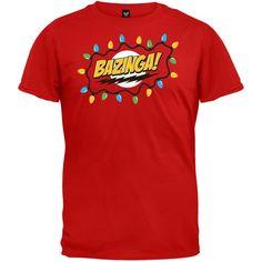 Big Bang Theory - Christmas Lights Bazinga Red T-Shirt