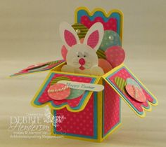 Punch Art Bunny for Easter. Pop-up Box Card using my eCutter and Stampin' Up! products. Debbie Henderson, Debbie's Designs.