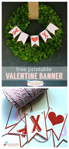 Free Printable Valentine Bunting - Make decorating for Valentines Day easy! This banner can be used year after year. Grab your free download on http://TodaysCreativeLIfe.com