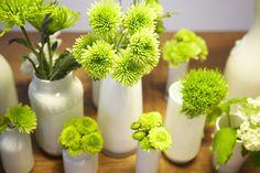 white vases, lime flowers