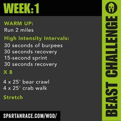 A Spartan race workout! Possibly Tough Mudder training too? A Spartan race workout! Possibly Tough Mudder training too? Training is everything beIf you enjoy grit, mud, oTough Mudder. Spartan Run, Spartan Race Training, Spartan Workout, Ninja Training, Marathon Training, Workout Plans, Obstacle Course Training, Obstacle Course Races, Spartan Challenge