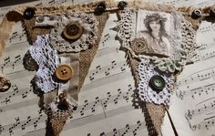 Stitching Always: Bunting. Shabby-chic Lace n Burlap/Hessian with Vintage Lady