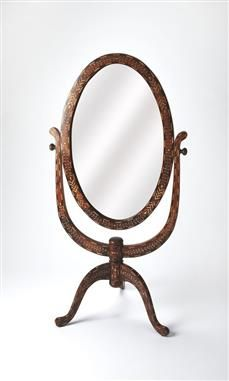 Bone Inlay Wood Glass Cheval Mirror