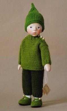Boy in Green Knit DJ040 by Elisabeth Pongratz
