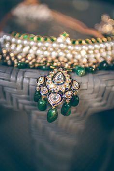 emerald and polki necklace , polki and meenakari necklace ,