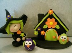 Gardening Witch and Owls MADE TO ORDER by countrycupboardclay