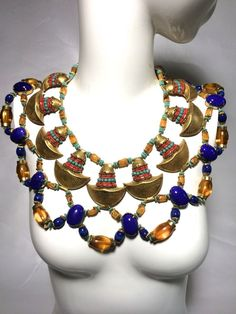 Miriam Haskell Egyptian Revival Cleopatra Necklace and Earring Set #StrandString
