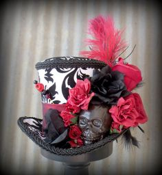 Skull Black and White Mini Top Hat Day of by Somethingfancydesign, $55.00