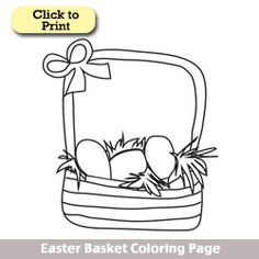 Easter basket coloring page. #printables #easter