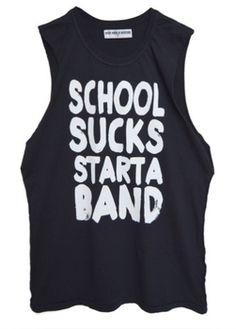 School Sucks Star a Band Black Muscle Tank