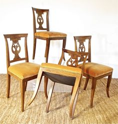 We love a quad of French chairs. Perfect for a game table or family ipad station.   19th Century French Walnut Game Table Chairs | The Curious Orange Store