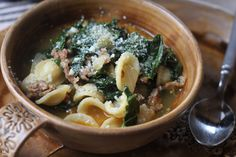 Spicy Sausage, Kale & Orchiette Soup from How Sweet It Is