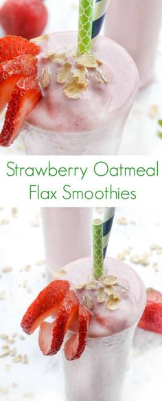 This creamy fruity protein-packed smoothie is full of ripe strawberries hearty oats and satisfying vanilla Greek yogurt click now for more. Flaxseed Smoothie, Oatmeal Smoothies, Easy Smoothies, Fruit Smoothies, Smoothie Recipes, Flaxseed Muffins, Strawberry Oatmeal Smoothie, Breakfast Smoothies, Healthy Breakfast Options
