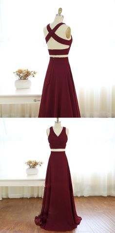 2017 two piece prom dresses,long burgundy prom dresses,sexy evening dresses,long chiffon prom dresses