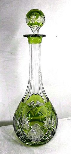 """Antique Val St. Lambert Signed cut Crystal Wine Glass Decanter  16"""" x 5"""""""