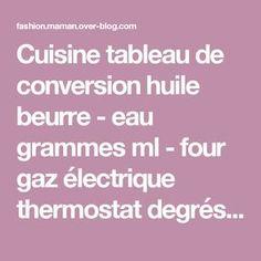 Cuisine tableau de conversion huile beurre - eau grammes ml - four gaz électrique thermostat degrés - Fashion maman