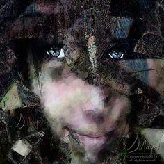 """Pixie"" a faerie peeking through leaves her bight eyes full of mischief.   - by Sinaya of Digital Art by Sinaya FB"