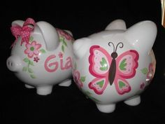 piggy bank hand painted personalized gia by andrewandelladesigns, $29.50