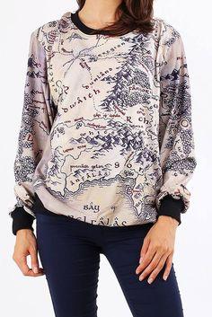 LOTR Women Mid Earth Map Long Sleeve Sweatshirt FREE SHIPPING!!!
