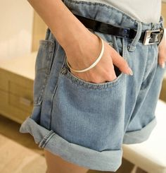 Women Fashion Solid Denim Shorts Summer High Waist Loose Shorts Wide Leg Plus Size Crimping Jeans Short with out belt K027