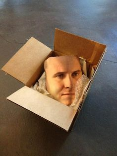 Our teammate's face arrived today...  He scanned it, then used the Cubify Cloud Printing service to get a full-color ZPrint. Creepy!