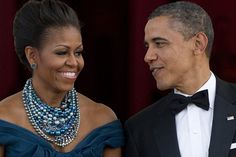 Color # 5:  EYE CANDY - fabulous Tim Binns necklace on Michelle Obama at State Dinner