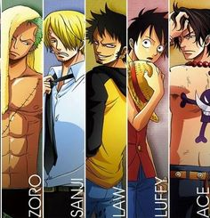 Trafalgar D. Water Law, Monkey D. Luffy, Sanji, Portgas D. Ace, and Roronoa Zoro One piece