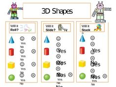 Topic 12 Envision Math --- Students will manipulate and test shapes for three attributes: Roll, slide, and stack.I had students play this a. Math Classroom, Kindergarten Math, Teaching Math, Classroom Ideas, Preschool, Math Worksheets, Math Activities, First Grade Math, Grade 2