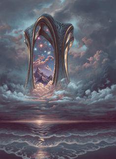 Fantasy Art Landscapes, Fantasy Landscape, Fantasy Concept Art, Fantasy Artwork, Fantasy Places, Fantasy World, Arte Sci Fi, Arte Obscura, Image Painting