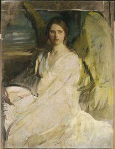 """Angel,"" Abbott Handerson Thayer, ca. 1900-1903, oil on canvas, 47 1/4 x 36 1/8"", Fogg Art Museum."