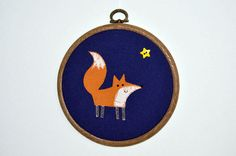 wall art hoop embroidery decoration for mothers day Midnight Fox embroidered picture red fox by Kaperberries on Etsy