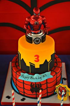 What an amazing decorated cake at a Spiderman Birthday Party!  See more party ideas at CatchMyParty.com!