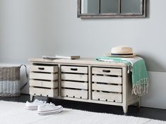 Need somewhere to stash those muddy walking shoes? We love the natural tones which make this wooden hallway storage bench easy to live with. Build Shoe Storage, Shoe Storage Cupboard, Hallway Storage Bench, Shoe Storage Unit, Wooden Storage Bench, Shoe Storage Solutions, Bench With Shoe Storage, Under Bed Storage, Table Storage
