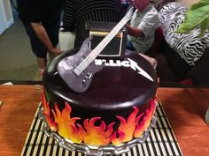 Guitar is gumpaste. Amp is rice crispy treat covered in fondant. Cupcakes, Cupcake Cakes, Beautiful Cakes, Amazing Cakes, Music Cakes, Guitar Cake, Gluten Free Puff Pastry, 30 Birthday Cake, Rice Crispy Treats