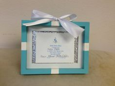 Tiffany Bid Day Frame by SororityGirlCrafter on Etsy, $25.00 Maybe get really cheap frames on sale and buy white ribbon and blue paint on sale and have this as a craft for the babies to make on bid day for them to frame their Bid Cards since Tiffany is our theme? @Alexis Garriott Bigham