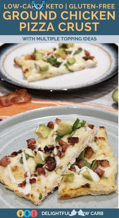 Low Carb Ground Chicken Pizza Crust If you're looking for an alternative keto pizza crust that doesn't include almond or coconut flour, this ground chicken crust makes a good base for keto flatbread and pizza. | Low Carb Pizza Crust | Chicken Recipe | Low Carb Recipe | #chicken #pizzacrust #recipe #low carb<br> Ground Chicken Recipes Easy, Healthy Chicken Recipes, Lunch Recipes, Keto Recipes, Low Sugar Recipes, Cauliflower Recipes, Appetizer Recipes, Dinner Recipes, Keto Foods