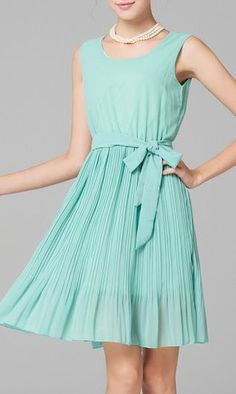 Ribbon Design Sleeveless Flouncing Pleated Dress