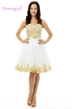 Dressgirl White 2017 Homecoming Dresses A-line Sweetheart Short Mini Appliques Lace Beaded Backless Cocktail Dresses