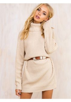 Princess Polly New Arrivals - Shop The Latest Trends Jumper Dress, Knit Dress, Sweater Outfits, Fall Outfits, Pink Long Sleeve Dress, Dress Long, Beige Jumpers, Chunky Knit Jumper, Online Fashion Boutique