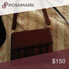 💕Burgundy tassel shoulder handbag💕 Burgundy shoulder handbag suede burgundy  tassels gold hardware Expression NYC   Bags Shoulder Bags
