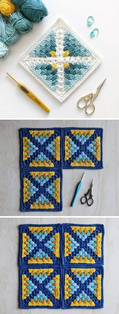 Crochet Square by LoopyStitch - Design PeakYou can find Crochet squares and more on our website.Crochet Square by LoopyStitch - Design Peak Crochet Design, Crochet Motifs, Granny Square Crochet Pattern, Crochet Blocks, Crochet Blanket Patterns, Crochet Stitches, Knitting Patterns, Afghan Patterns, Crochet Blankets
