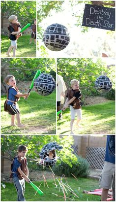 Star Wars Jedi Training Birthday Party - Star Wars Cake - Ideas of Star Wars Cake - Death Star Star Wars Pinata Star Wars Pinata, Tema Star Wars, Star Wars Cake, Death Star Pinata, Death Star Cake, Birthday Star, 6th Birthday Parties, Birthday Ideas, Star Wars Birthday Games