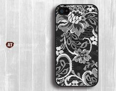iphone 4 case iphone 4s case Case for black  iphone 4 cover illustrator classic lace drapery flower design printing. $13.99, via Etsy.