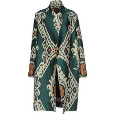 Carlotta Canepa Coat ($390) ❤ liked on Polyvore featuring outerwear, coats, emerald green, single-breasted trench coats, jacquard coat, long sleeve coat, print coat and pattern coat