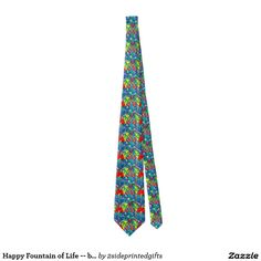 Happy Fountain of Life -- both side Print Ties