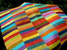 """Strips were cut 1.5"""" x 5.5"""" so this finishes as small wallhanging.  Could be done with larger rectangles for larger quilt size."""