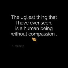 The ugliest thing that I have ever seen is a human being without compassion.