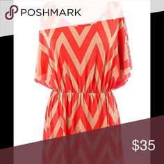 Chevron Zig Zag Print Batwing Dress Tan & Coral Chevron zig zag print dress.  Elastic waist line with v plunge in the back.  Open dolman batwing sleeves that drop to the waistline.  Great for casual dress or cocktail wear. Tan/Coral - 92% Polyester/8% Spandex Dresses Mini